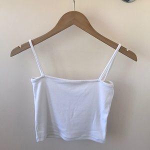 Brandy Melville ribbed white crop top